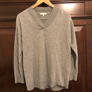 Merino wool blend sweater w/ asymmetric details